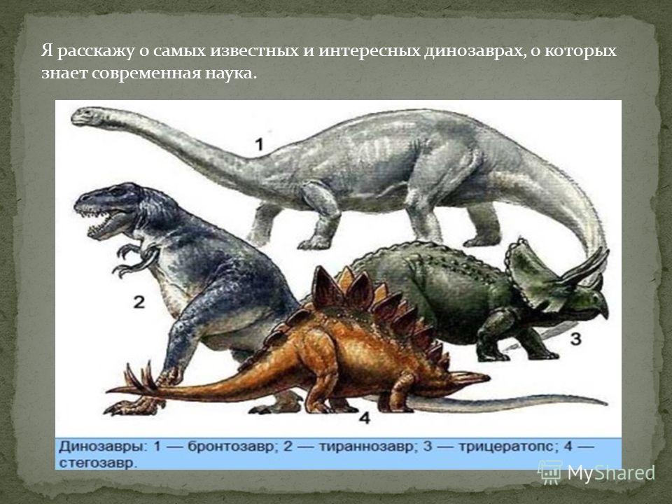 Я расскажу о самых известных и интересных динозаврах, о которых знает современная наука.