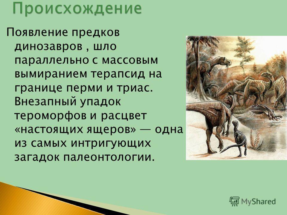 Появление предков динозавров, шло параллельно с массовым вымиранием терапсид на границе перми и триас. Внезапный упадок тероморфов и расцвет «настоящих ящеров» одна из самых интригующих загадок палеонтологии.