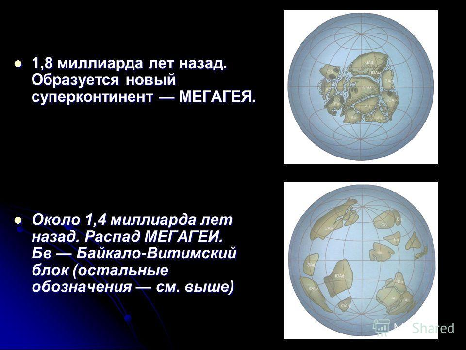 1,8 миллиарда лет назад. Образуется новый суперконтинент МЕГАГЕЯ. 1,8 миллиарда лет назад. Образуется новый суперконтинент МЕГАГЕЯ. Около 1,4 миллиарда лет назад. Распад МЕГАГЕИ. Бв Байкало-Витимский блок (остальные обозначения см. выше) Около 1,4 ми