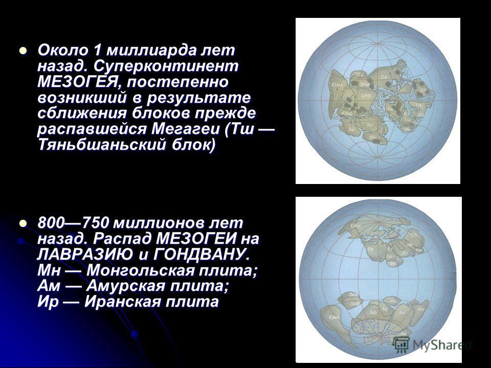 Около 1 миллиарда лет назад. Суперконтинент МЕЗОГЕЯ, постепенно возникший в результате сближения блоков прежде распавшейся Мегагеи (Тш Тяньбшаньский блок) Около 1 миллиарда лет назад. Суперконтинент МЕЗОГЕЯ, постепенно возникший в результате сближени