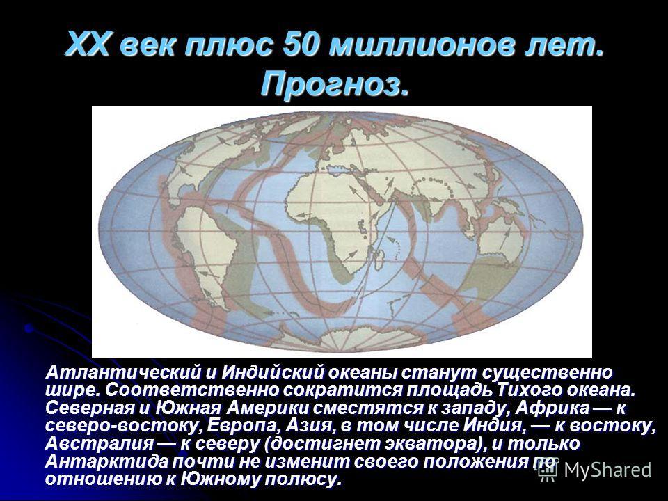 XX век плюс 50 миллионов лет. Прогноз. Атлантический и Индийский океаны станут существенно шире. Соответственно сократится площадь Тихого океана. Северная и Южная Америки сместятся к западу, Африка к северо-востоку, Европа, Азия, в том числе Индия, к