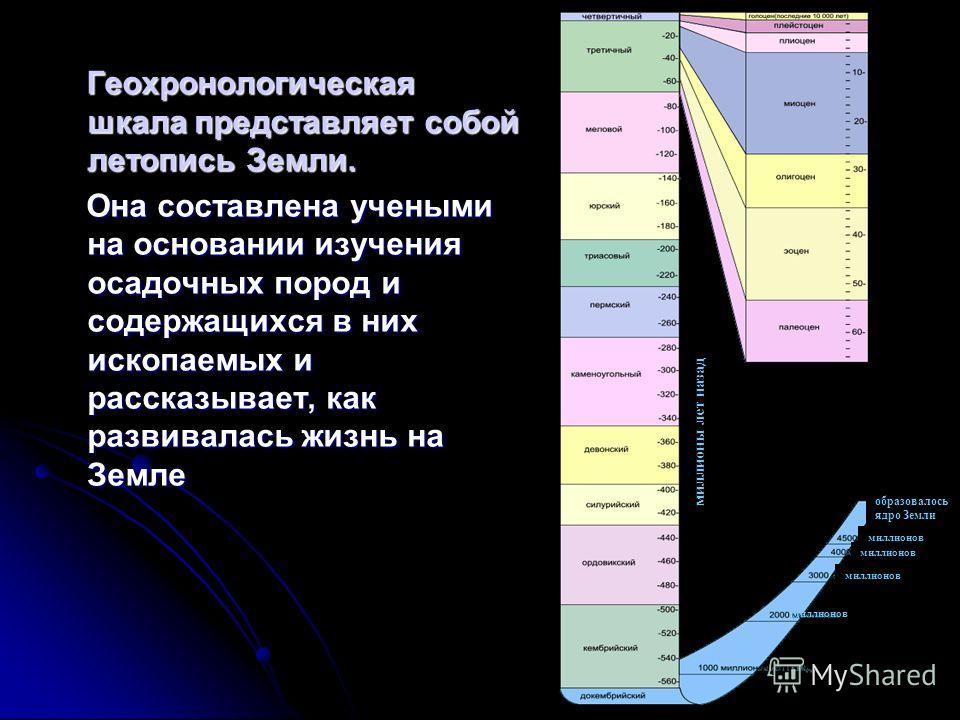 Геохронологическая шкала представляет собой летопись Земли. Геохронологическая шкала представляет собой летопись Земли. Она составлена учеными на основании изучения осадочных пород и содержащихся в них ископаемых и рассказывает, как развивалась жизнь