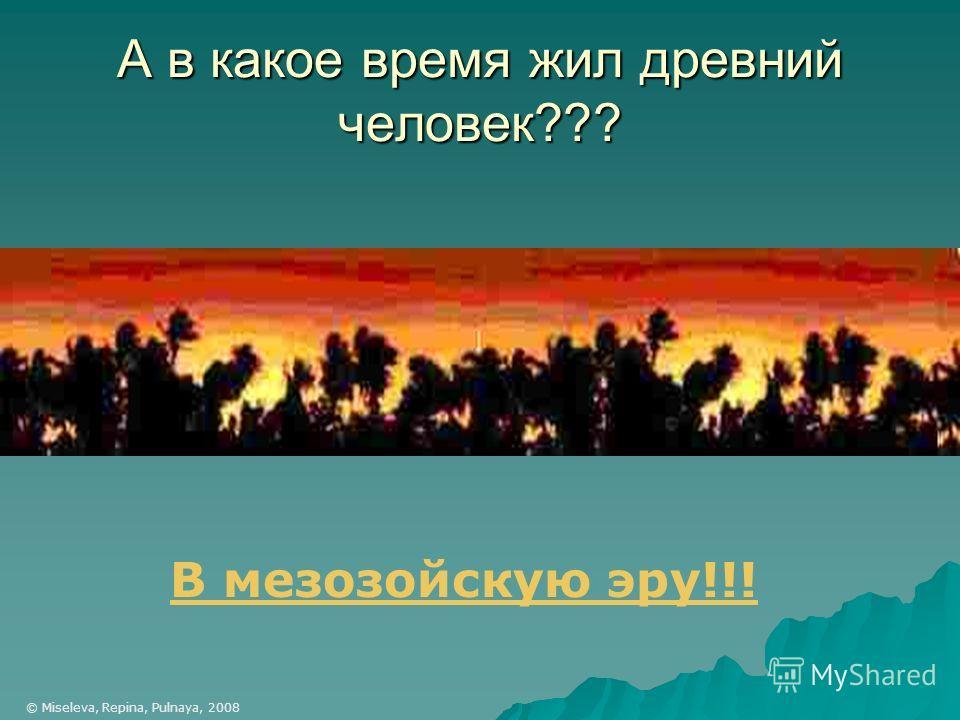 А в какое время жил древний человек??? В мезозойскую эру!!! © Miseleva, Repina, Pulnaya, 2008