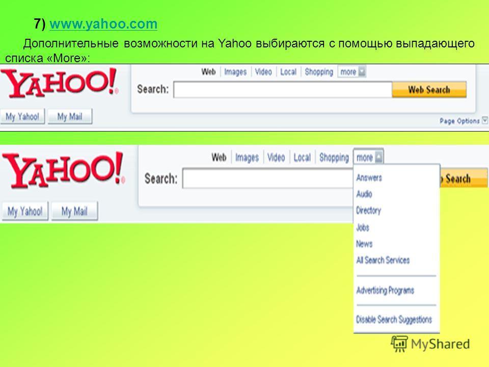 7) www.yahoo.comwww.yahoo.com Дополнительные возможности на Yahoo выбираются с помощью выпадающего списка «More»: