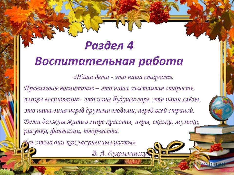 Раздел 4 Воспитательная работа «Наши дети - это наша старость. Правильное воспитание – это наша счастливая старость, плохое воспитание - это наше будущее горе, это наши слёзы, это наша вина перед другими людьми, перед всей страной. Дети должны жить в