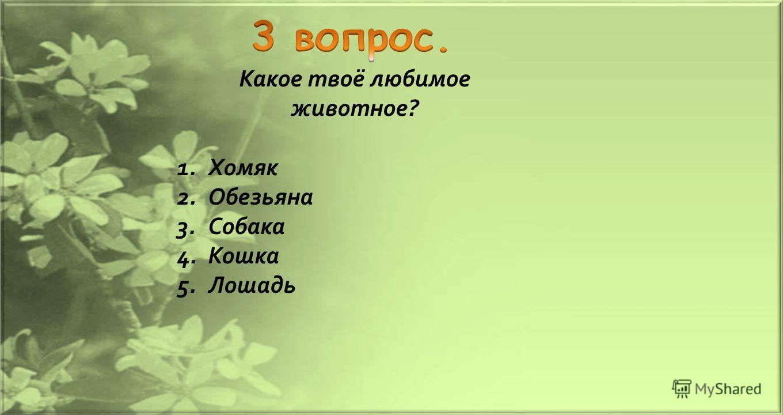 Какое твоё любимое животное ? 1. Хомяк 2. Обезьяна 3. Собака 4. Кошка 5.Лошадь