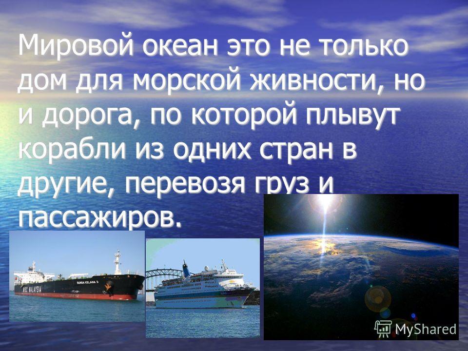 Мировой океан это не только дом для морской живности, но и дорога, по которой плывут корабли из одних стран в другие, перевозя груз и пассажиров.
