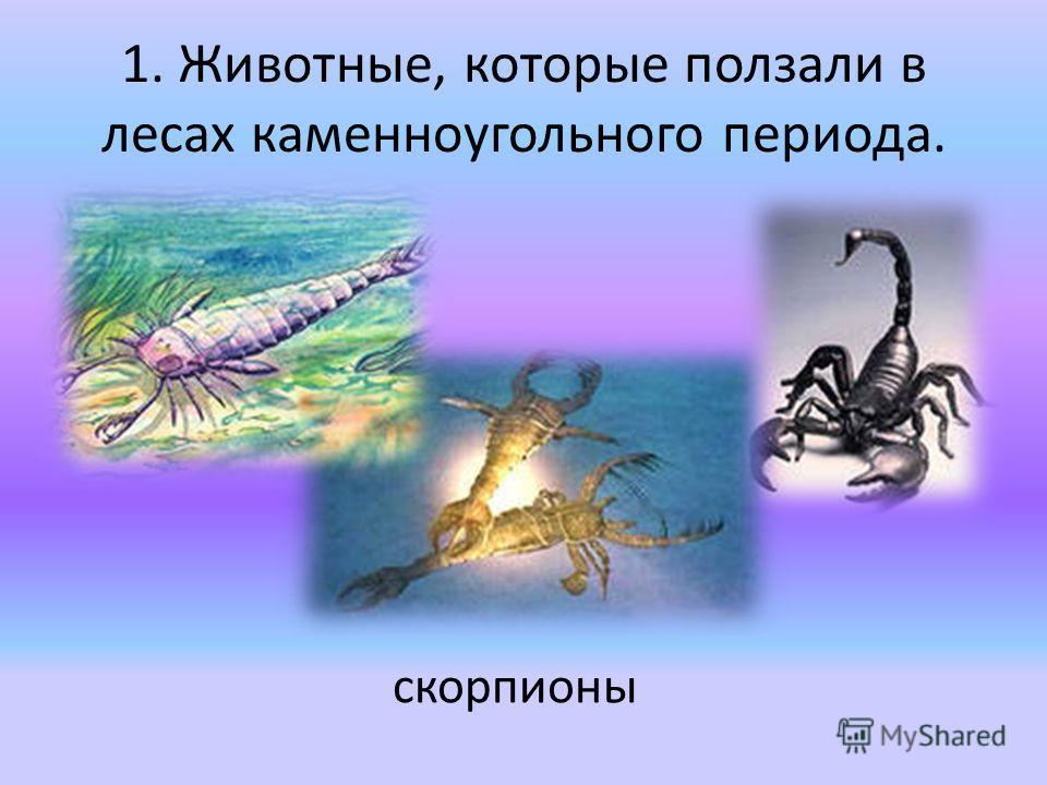 1. Животные, которые ползали в лесах каменноугольного периода. скорпионы