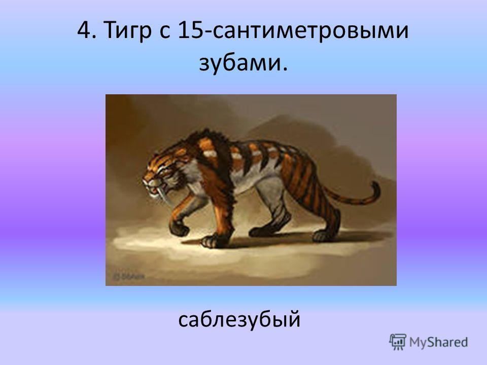 4. Тигр с 15-сантиметровыми зубами. саблезубый