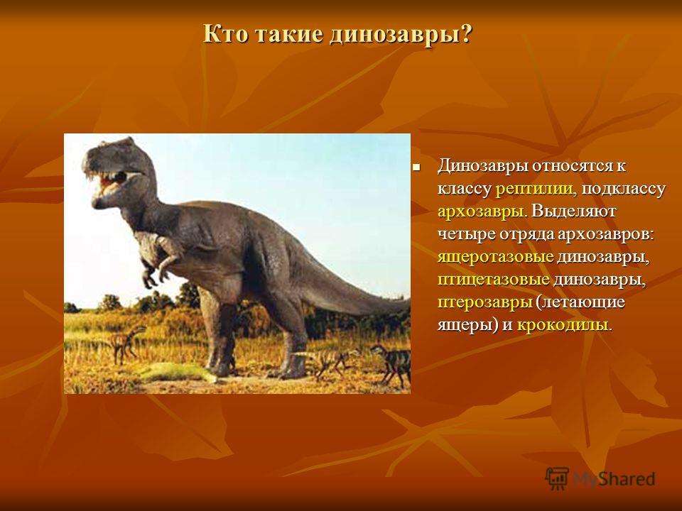 Кто такие динозавры? Динозавры Динозавры относятся к классу рептилии, рептилии, подклассу архозавры. архозавры. Выделяют четыре отряда архозавров: ящеротазовые ящеротазовые динозавры, птицетазовые птицетазовые динозавры, птерозавры (летающие ящеры) и