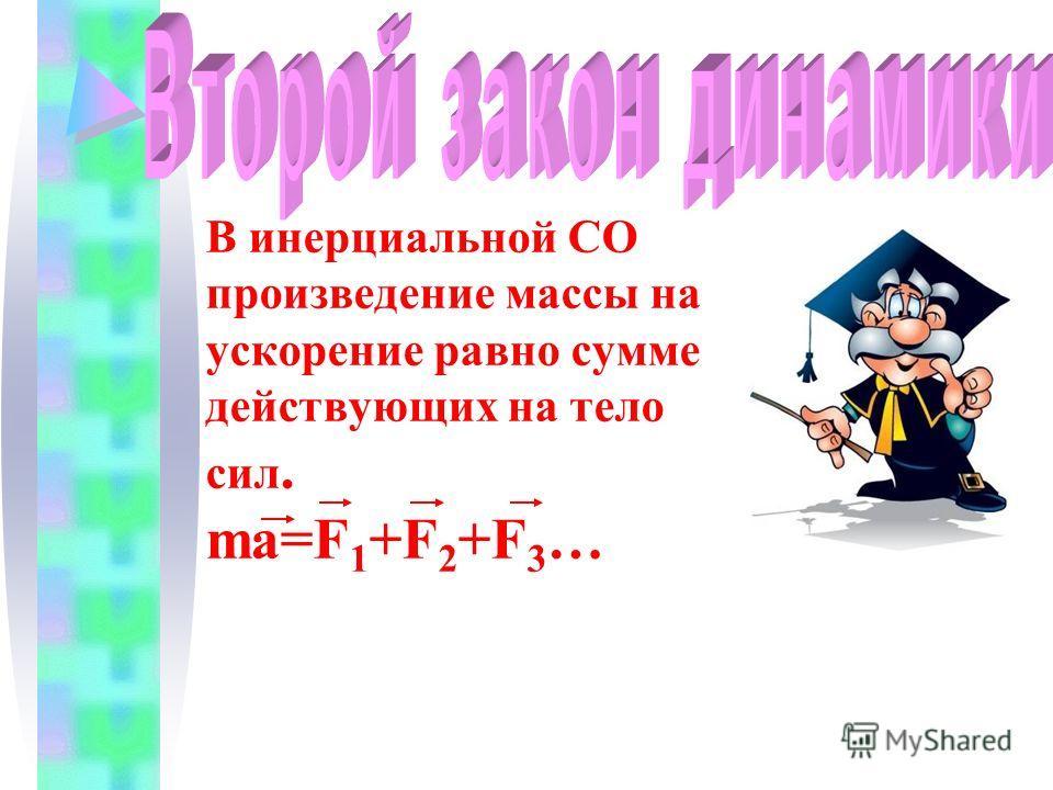 В инерциальной СО произведение массы на ускорение равно сумме действующих на тело сил. ma=F 1 +F 2 +F 3 …