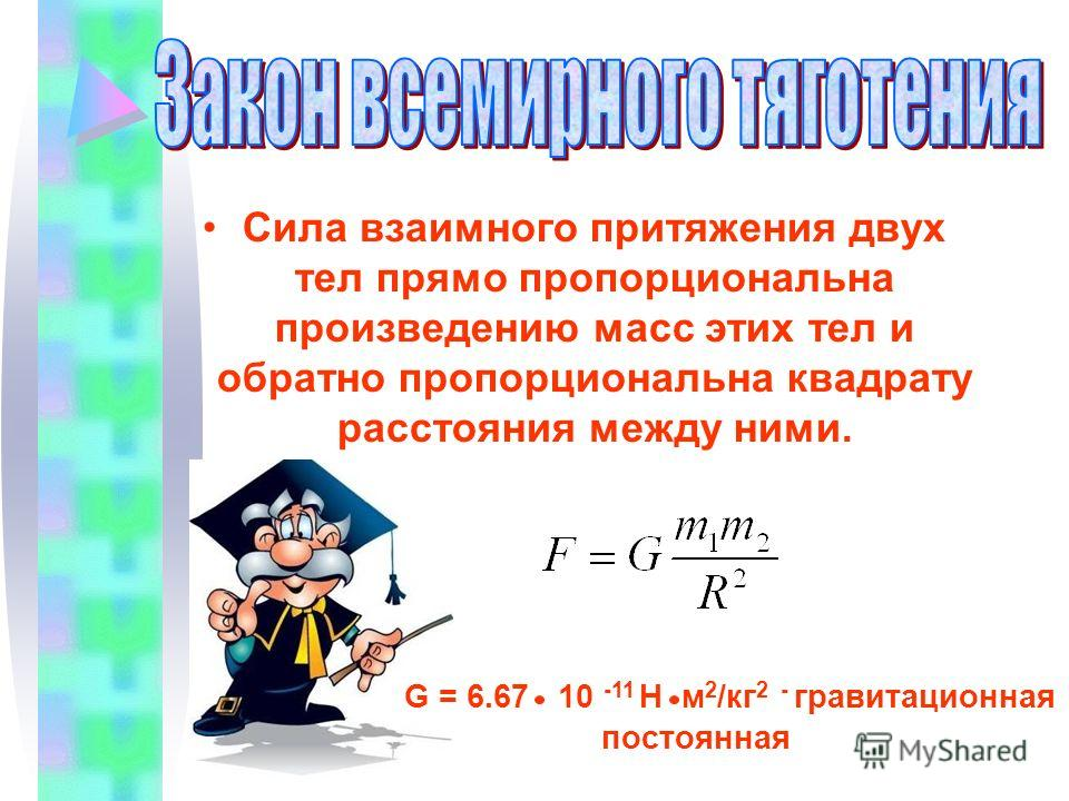 Сила взаимного притяжения двух тел прямо пропорциональна произведению масс этих тел и обратно пропорциональна квадрату расстояния между ними. G = 6.67 10 -11 Н м 2 /кг 2 - гравитационная постоянная