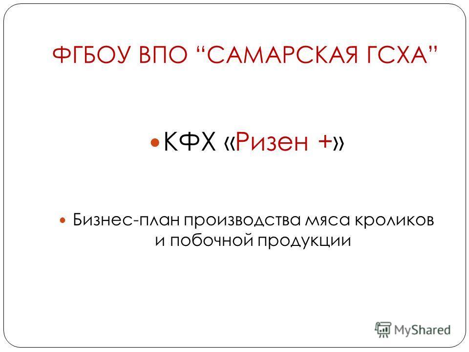 ФГБОУ ВПО САМАРСКАЯ ГСХА КФХ «Ризен +» Бизнес-план производства мяса кроликов и побочной продукции