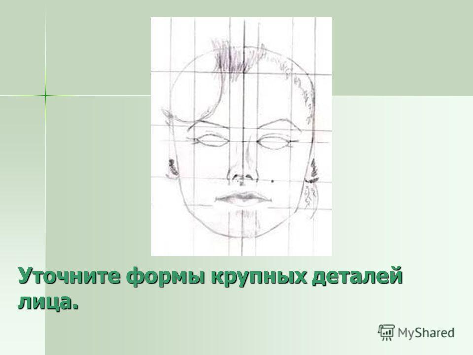 Уточните формы крупных деталей лица.