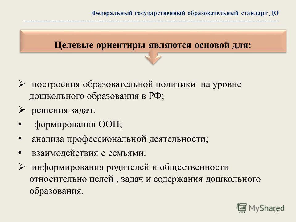 построения образовательной политики на уровне дошкольного образования в РФ; решения задач: формирования ООП; анализа профессиональной деятельности; взаимодействия с семьями. информирования родителей и общественности относительно целей, задач и содерж