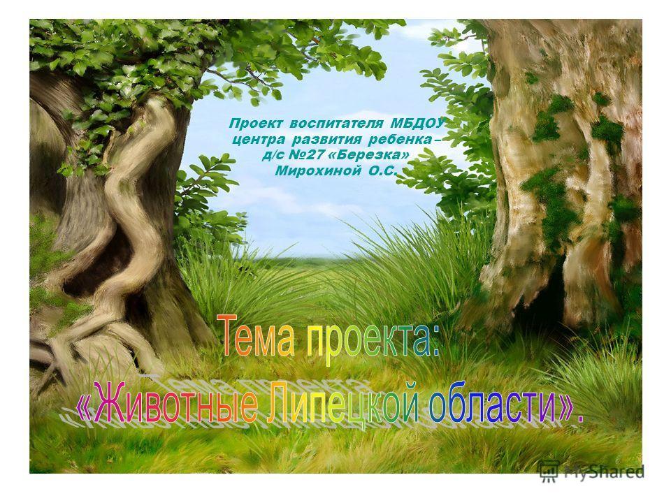 Проект воспитателя МБДОУ центра развития ребенка – д/с 27 «Березка» Мирохиной О.С.