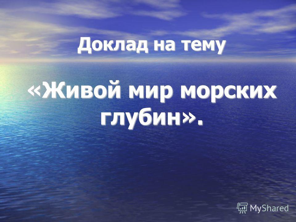 Доклад на тему «Живой мир морских глубин».