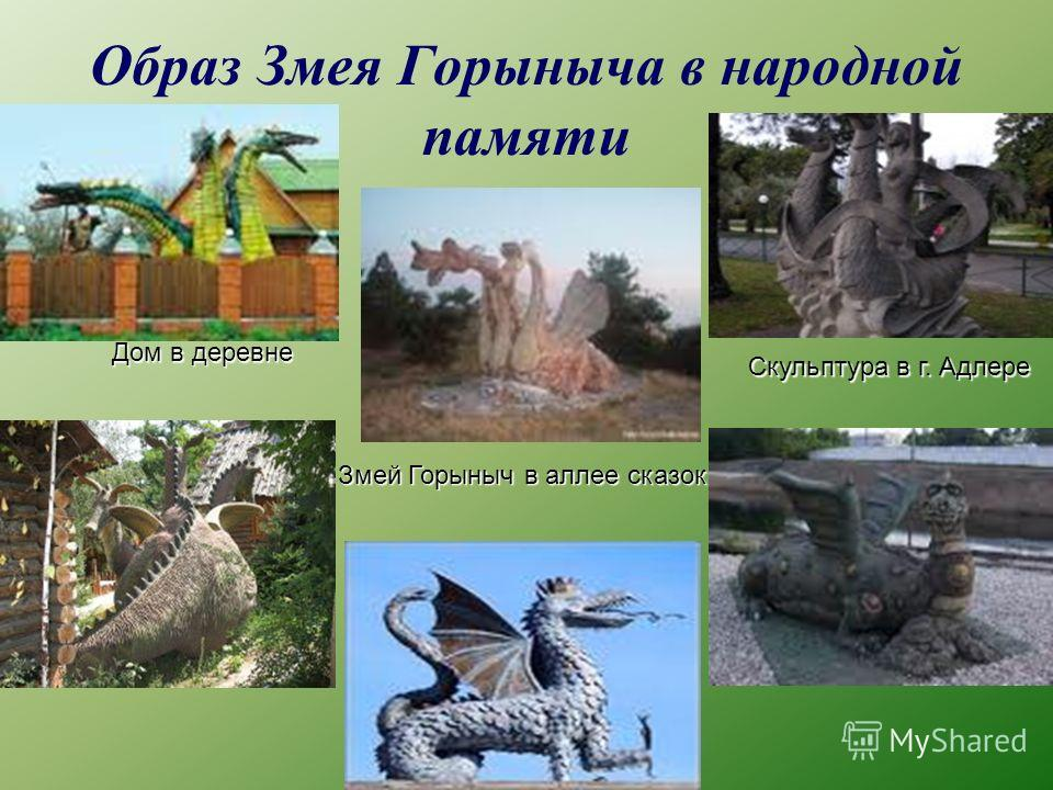 Образ Змея Горыныча в народной памяти Змей Горыныч в аллее сказок Скульптура в г. Адлере Дом в деревне