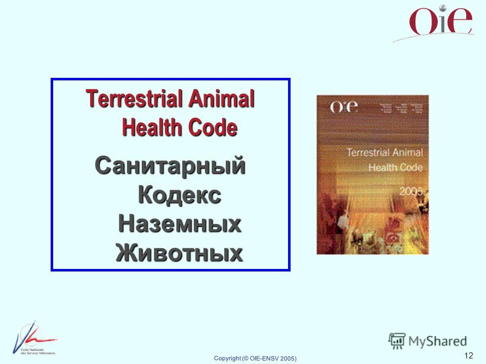 12 Copyright (© OIE-ENSV 2005) Terrestrial Animal Health Code Санитарный Кодекс Наземных Животных