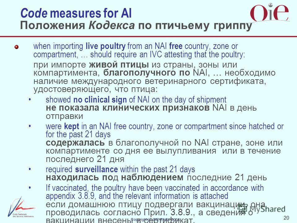 20 Copyright (© OIE-ENSV 2005) Code measures for AI Положения Кодекса по птичьему гриппу when importing live poultry from an NAI free country, zone or compartment, … should require an IVC attesting that the poultry: при импорте живой птицы из страны,