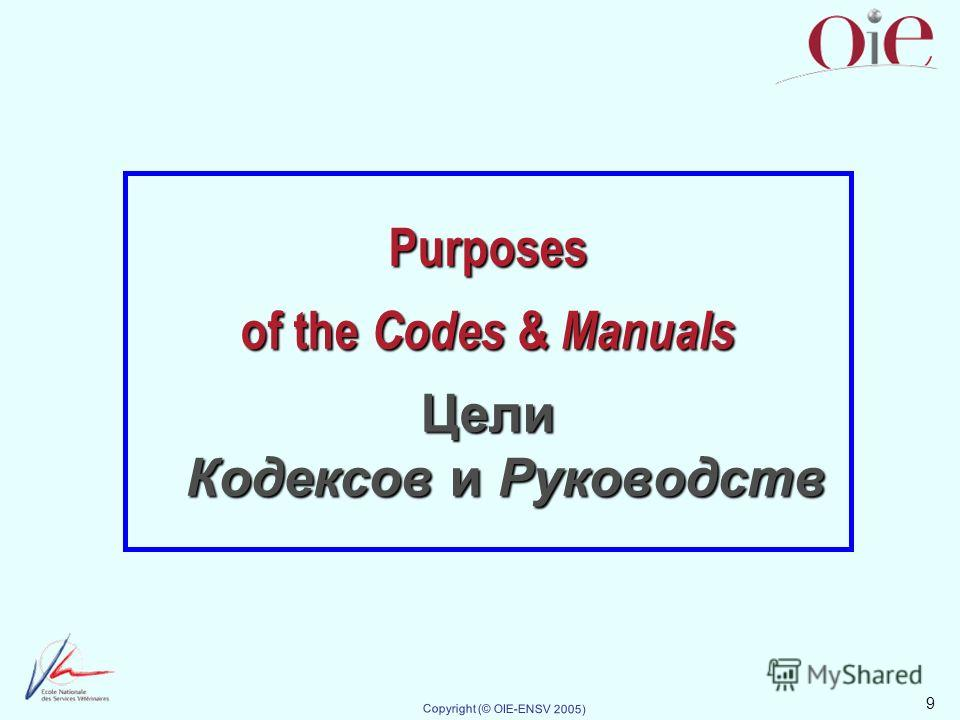 9 Copyright (© OIE-ENSV 2005) Purposes of the Codes & Manuals Цели Кодексов и Руководств