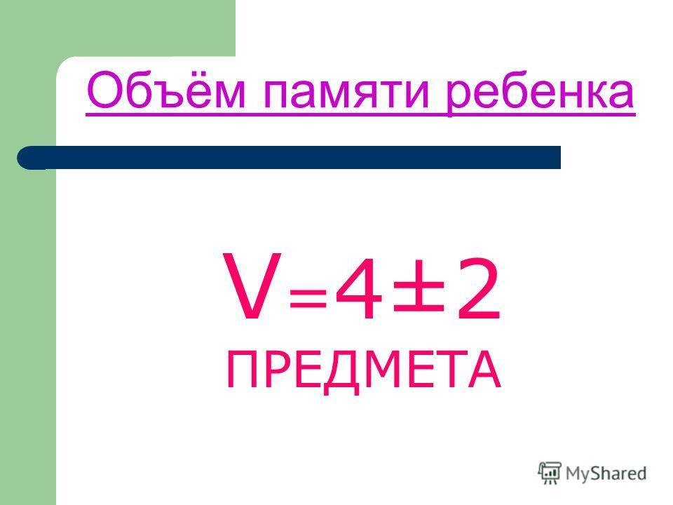 Объём памяти ребенка V = 4±2 ПРЕДМЕТА