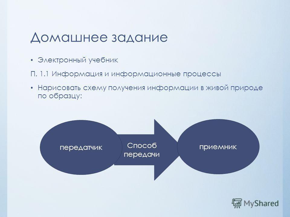 Домашнее задание Электронный учебник П. 1.1 Информация и информационные процессы Нарисовать схему получения информации в живой природе по образцу: Способ передачи передатчик приемник