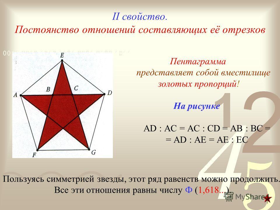 II свойство. Постоянство отношений составляющих её отрезков Пентаграмма представляет собой вместилище золотых пропорций! На рисунке AD : AC = AC : CD = AB : BC = = AD : AE = AE : EC Пользуясь симметрией звезды, этот ряд равенств можно продолжить. Все