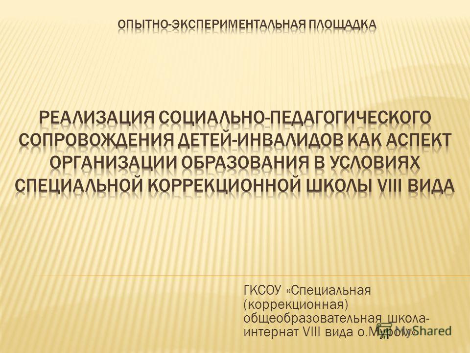 ГКСОУ «Специальная (коррекционная) общеобразовательная школа- интернат VIII вида о.Муром»