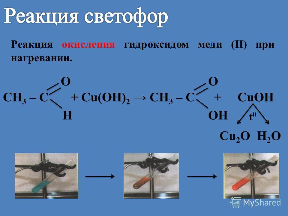 Реакция окисления гидроксидом меди (II) при нагревании. СН 3 – С + Cu(OH) 2 СН 3 – С + CuOH HOH OO t0t0 Cu 2 OH2OH2O