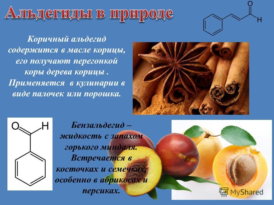 Коричный альдегид содержится в масле корицы, его получают перегонкой коры дерева корицы. Применяется в кулинарии в виде палочек или порошка. Бензальдегид – жидкость с запахом горького миндаля. Встречается в косточках и семечках, особенно в абрикосах