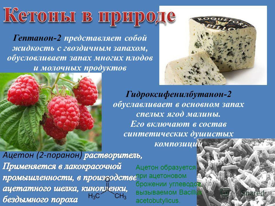 Гептанон-2 представляет собой жидкость с гвоздичным запахом, обусловливает запах многих плодов и молочных продуктов Гидроксифенилбутанон-2 обуславливает в основном запах спелых ягод малины. Его включают в состав синтетических душистых композиций Ацет