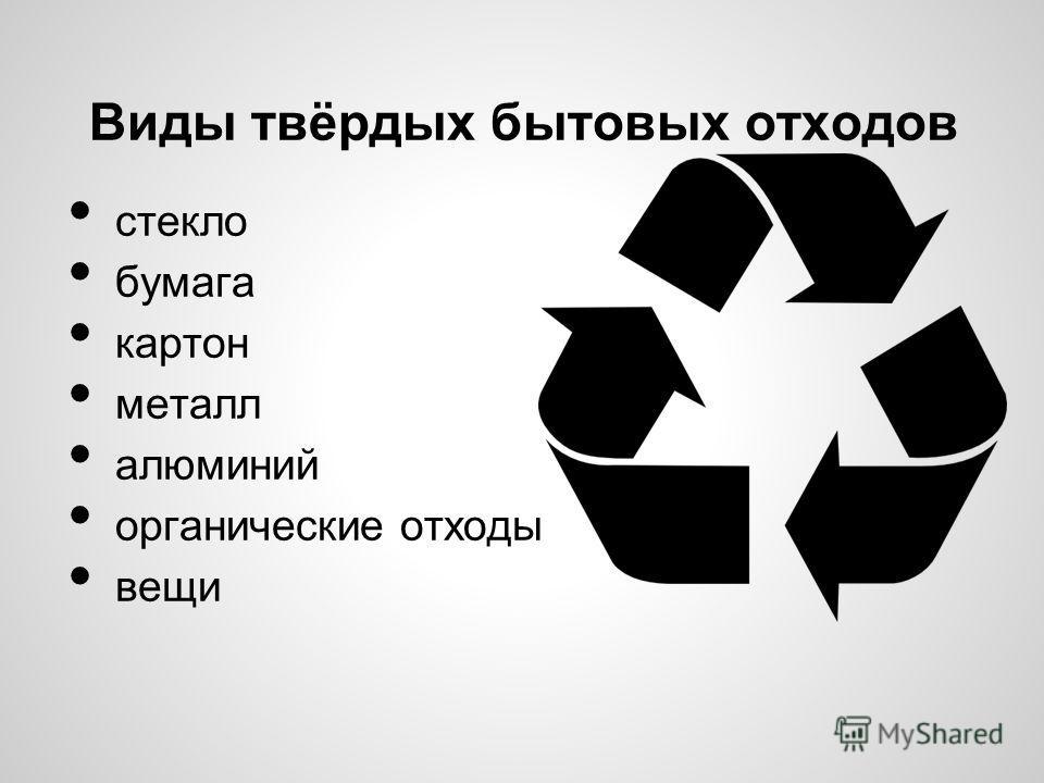 Виды твёрдых бытовых отходов стекло бумага картон металл алюминий органические отходы вещи