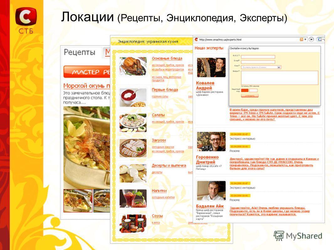 Локации (Рецепты, Энциклопедия, Эксперты)