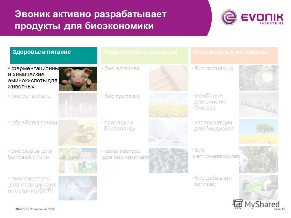 HN-BP-SP| November 26, 2012Seite 12 Эвоник активно разрабатывает продукты для биоэкономики ферментационные и химические аминокислоты для животных биоматериалы обработка почвы био сырье для бытовой химии аминокислоты для медицинских инъекций(сGMP) био