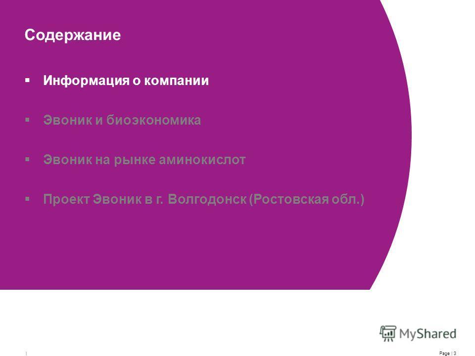 Page | 3 | Содержание Информация о компании Эвоник и биоэкономика Эвоник на рынке аминокислот Проект Эвоник в г. Волгодонск (Ростовская обл.)