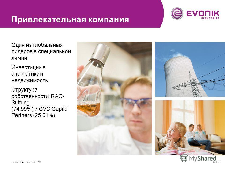 Graintek | November 13, 2012Seite 5 Привлекательная компания Один из глобальных лидеров в специальной химии Инвестиции в энергетику и недвижимость Структура собственности: RAG- Stiftung (74.99%) и CVC Capital Partners (25.01%)