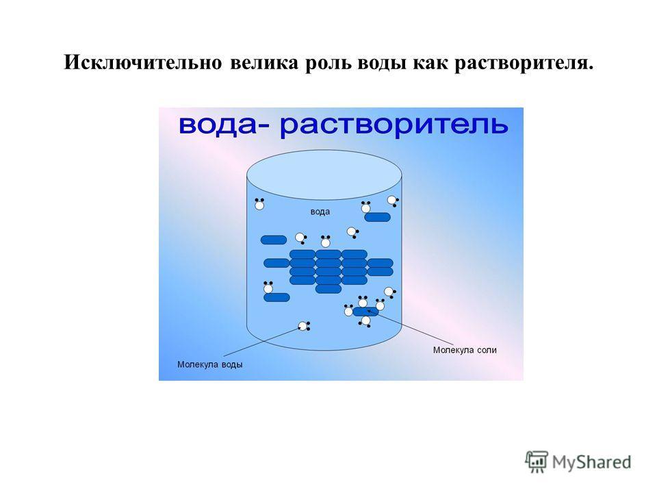 Исключительно велика роль воды как растворителя.