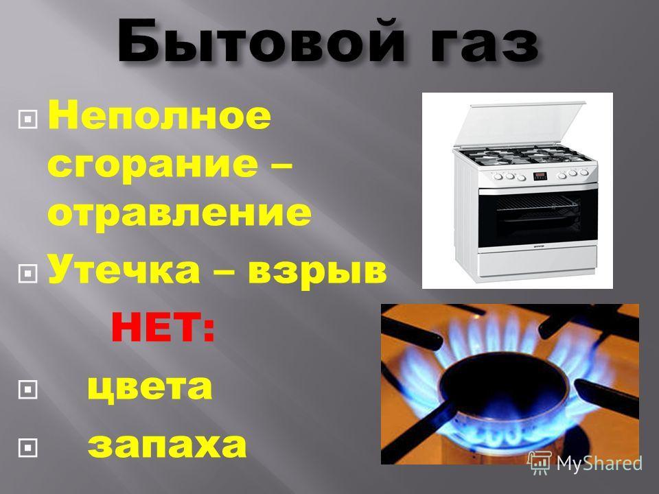 Неполное сгорание – отравление Утечка – взрыв НЕТ: цвета запаха