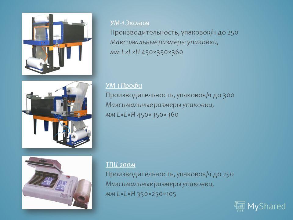 УМ-1 Эконом Производительность, упаковок/ч до 250 Максимальные размеры упаковки, мм L×L×H 450×350×360 УМ-1 Профи Производительность, упаковок/ч до 300 Максимальные размеры упаковки, мм L×L×H 450×350×360 ТПЦ-200 м Производительность, упаковок/ч до 250