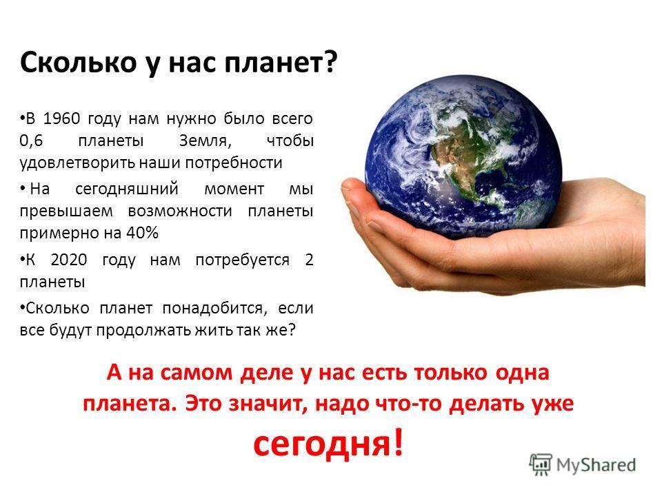 Сколько у нас планет? В 1960 году нам нужно было всего 0,6 планеты Земля, чтобы удовлетворить наши потребности На сегодняшний момент мы превышаем возможности планеты примерно на 40% К 2020 году нам потребуется 2 планеты Сколько планет понадобится, ес