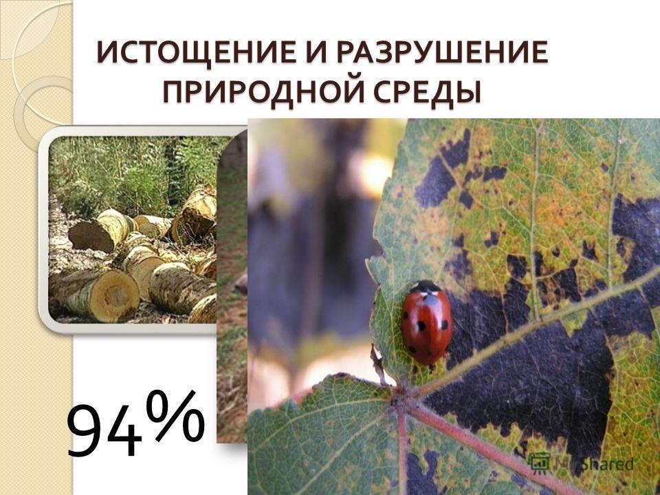 ИСТОЩЕНИЕ И РАЗРУШЕНИЕ ПРИРОДНОЙ СРЕДЫ 94%