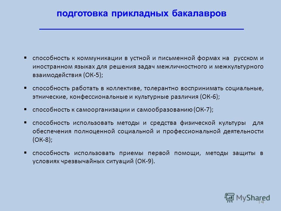 14 подготовка прикладных бакалавров _______________________________________ способность к коммуникации в устной и письменной формах на русском и иностранном языках для решения задач межличностного и межкультурного взаимодействия (ОК-5); способность р