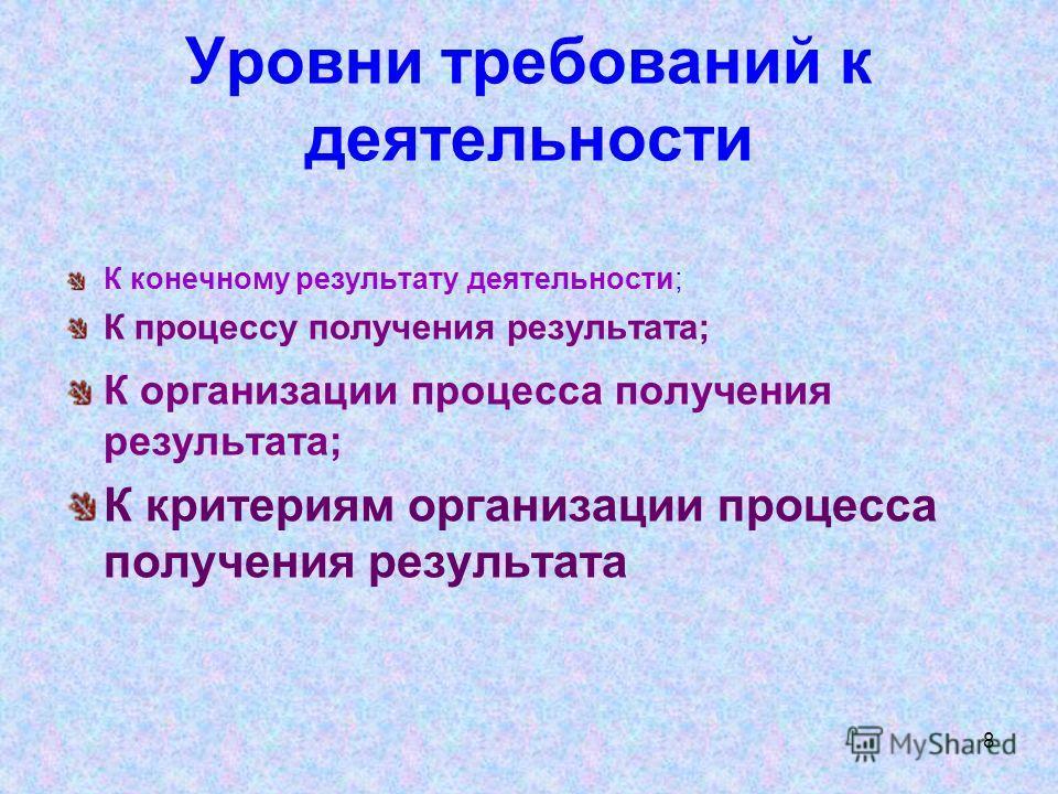 8 Уровни требований к деятельности К конечному результату деятельности; К процессу получения результата; К организации процесса получения результата; К критериям организации процесса получения результата