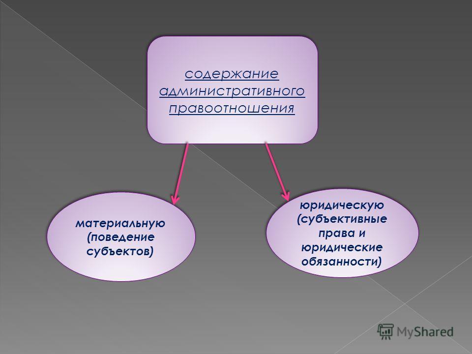 содержание административного правоотношения материальную (поведение субъектов) юридическую (субъективные права и юридические обязанности)