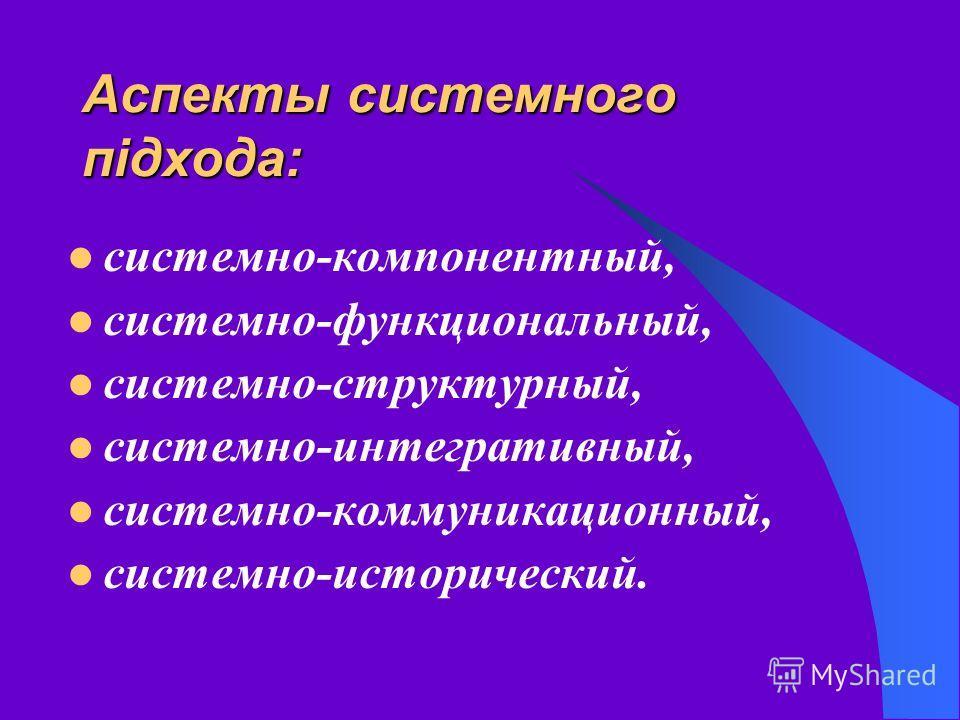 Аспекты системного підхода: системно-компонентный, системно-функциональный, системно-структурный, системно-интегративный, системно-коммуникационный, системно-исторический.