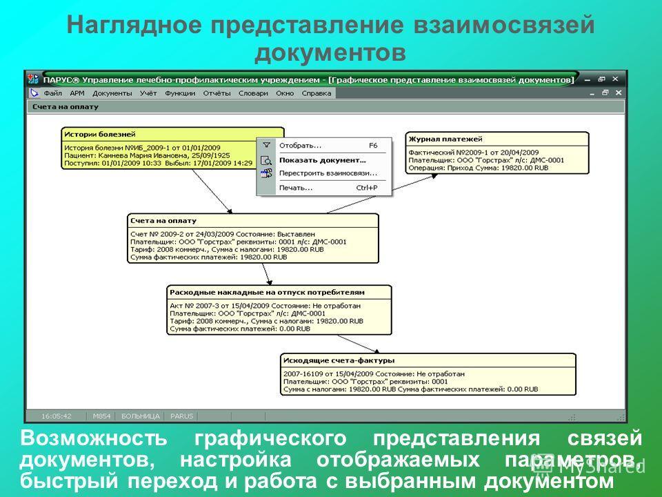 Наглядное представление взаимосвязей документов Возможность графического представления связей документов, настройка отображаемых параметров, быстрый переход и работа с выбранным документом