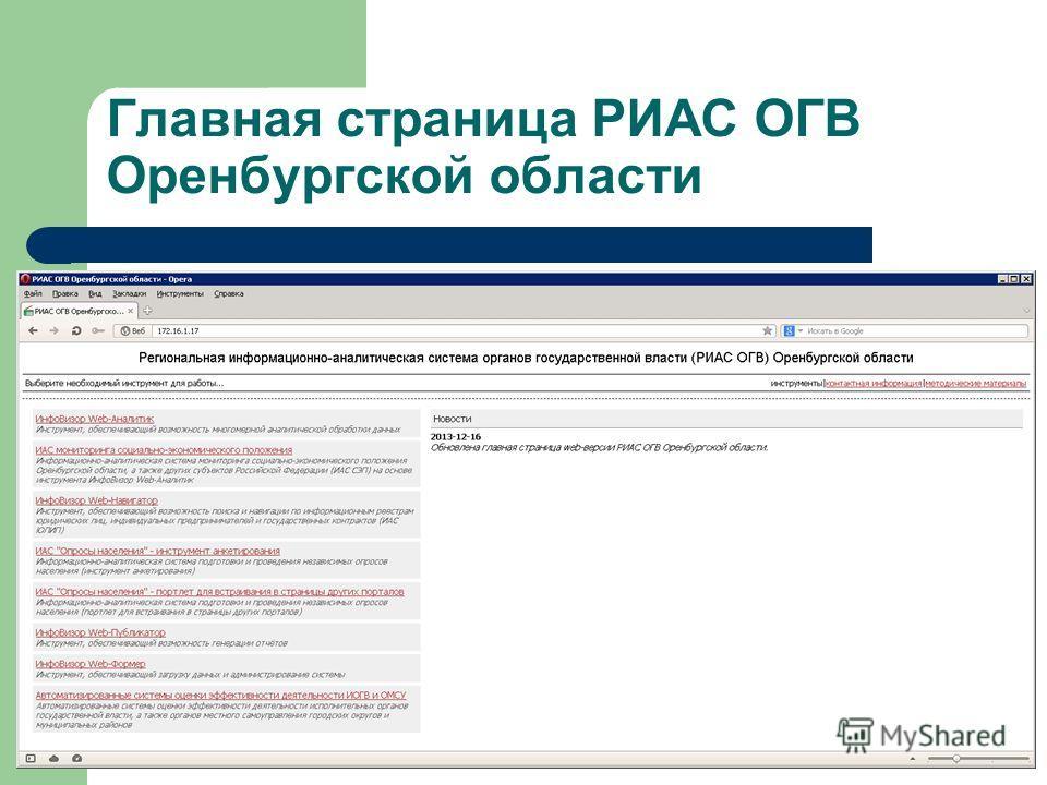 Главная страница РИАС ОГВ Оренбургской области