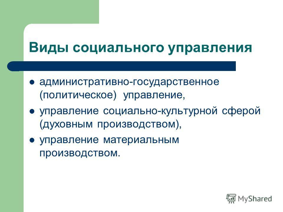 Виды социального управления административно-государственное (политическое) управление, управление социально-культурной сферой (духовным производством), управление материальным производством.