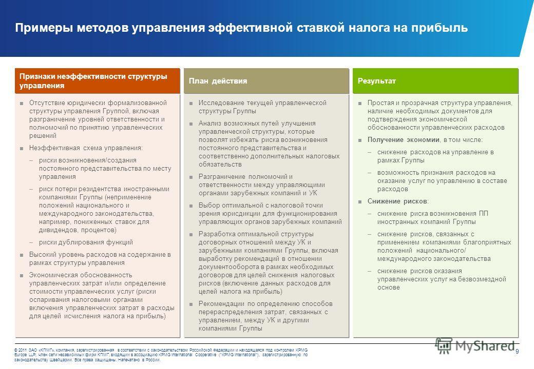 9 © 2011 ЗАО «КПМГ», компания, зарегистрированная в соответствии с законодательством Российской Федерации и находящаяся под контролем KPMG Europe LLP; член сети независимых фирм КПМГ, входящих в ассоциацию KPMG International Cooperative (KPMG Interna